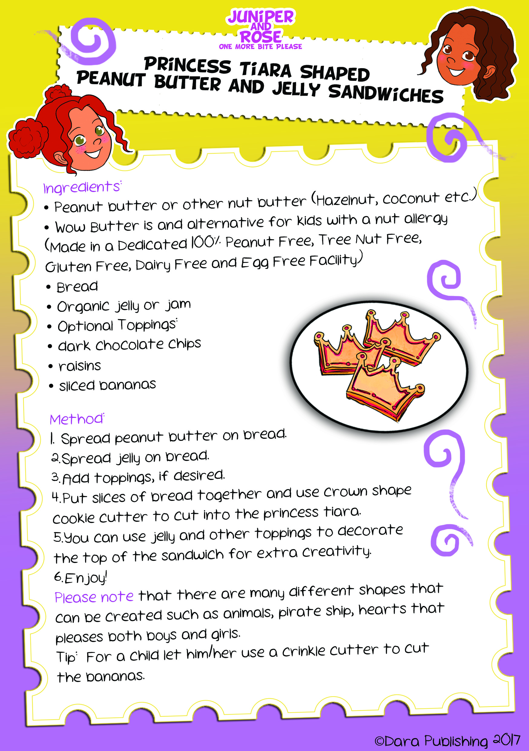 J&R Princess Sandwiches Recipe Card