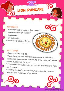 Lion Pancake Recipe Card